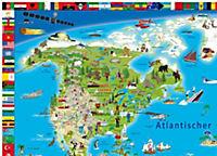 Erlebniskarte illustrierte Weltkarte, Planokarte, Metall-beleistet - Produktdetailbild 1