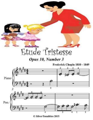 Etude Tristesse Opus 10 Number 3 - Beginner Tots Piano Sheet Music, Silver Tonalities