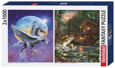 Fantasy Puzzle - Magisches Einhorn/ Die kleine Fischerhütte