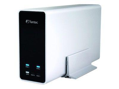 FANTEC mobiRAID X2 Externes HDD SSD Gehaeuse fuer 2x6,35cm RAID Level 0, 1,JBOD USB 3.0 Superspeed Aluminiumgehaeuse inkl.2x 1TB HDD