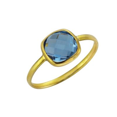 Fascination by Ellen K. Ring 375/- Gelbgold Blautopas (Größe: 054 (17,2))