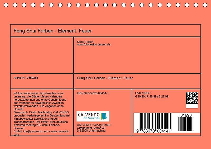 Feng Shui Farben - Element Feuer Tischkalender 2019 DIN A5 quer ...