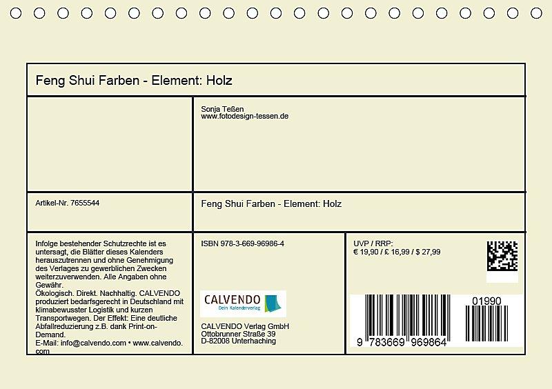 Feng Shui Farben - Element: Holz Tischkalender 2019 DIN A5 quer ...