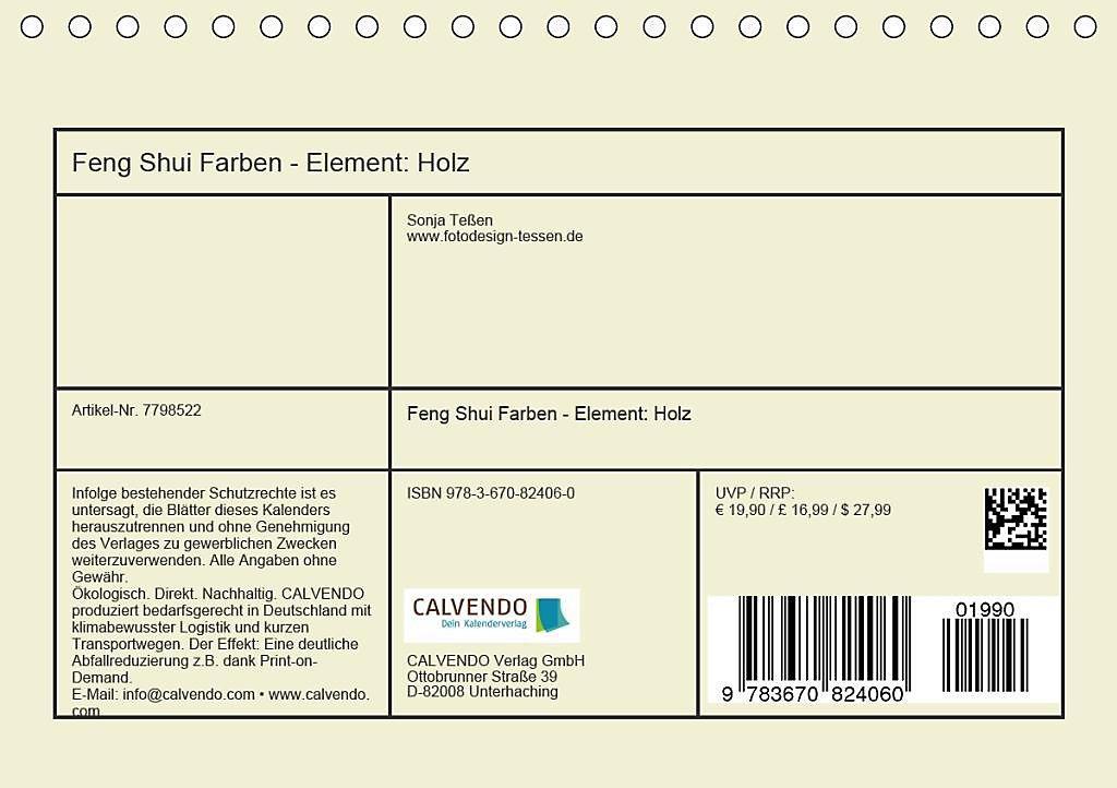 Feng Shui Farben - Element: Holz Tischkalender 2020 DIN A5 quer ...