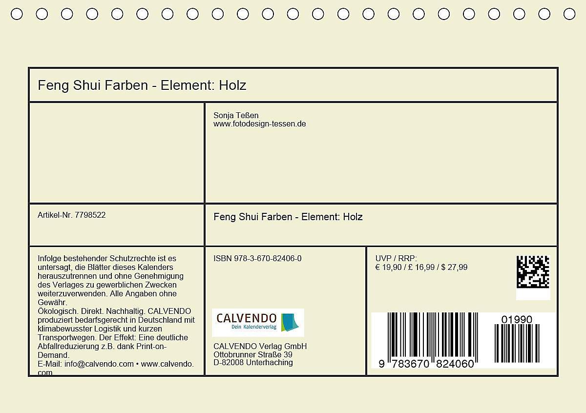 Feng Shui Farben - Element: Holz Tischkalender 2020 DIN A5 ...