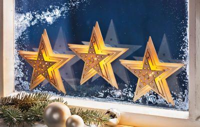 Fensterdeko led sterne 3er set jetzt bei for Led fensterdeko weihnachten