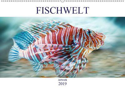 Fischwelt - Artwork (Wandkalender 2019 DIN A2 quer), Liselotte Brunner-Klaus