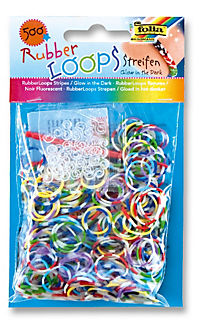Folia RubberLoops Set Mix Streifen nachtleuchtend, 1.204 Teile, Polybeutel - Produktdetailbild 3