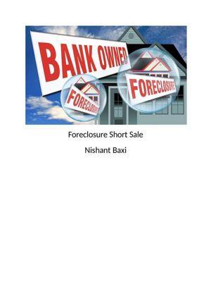 Foreclosure Short Sale, Nishant Baxi