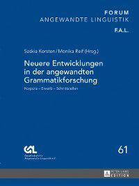 Forum Angewandte Linguistik--F.a.l.: Neuere Entwicklungen in der angewandten Grammatikforschung