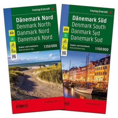 Freytag & Berndt Auto + Freizeitkarte Dänemark Nord/Süd, Autokarte 1:150.000, 2 Bl.; Denmark North/South / Danmark Nord/