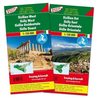 Freytag & Berndt Auto + Freizeitkarte Sizilien West - Sizilien Ost