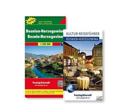Freytag & Berndt Auto + Freizeitkarte u. Kultur-Reiseführer Bosnien-Herzegowina Set, 1:200.000, 2 Tle.
