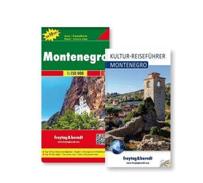 Freytag & Berndt Auto + Freizeitkarte u. Kultur-Reiseführer Montenegro Set, 1:150.000, 2 Tle.
