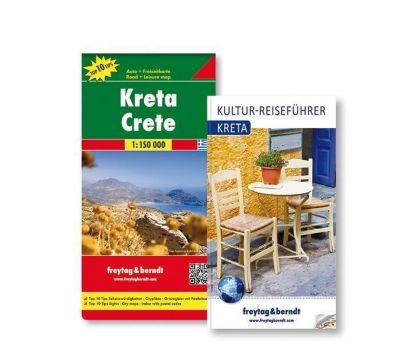 Freytag & Berndt Auto + Freizeitkarte u. Kultur-Reiseführer Kreta Set, 1:150.000, 2 Tle.