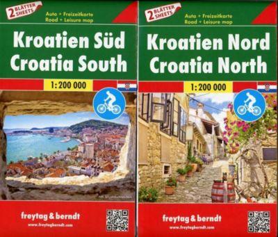Freytag & Berndt Autokarte Kroatien Nord / Autokarte Kroatien Süd, 2 Bl.