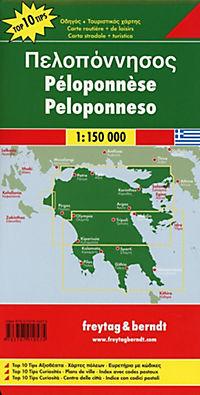 Freytag & Berndt Autokarte Peloponnes, Top 10 Tips 1:150.000; Peloponnesos. Péloponnèse. Peloponneso - Produktdetailbild 2