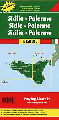Freytag & Berndt Autokarte Sizilien - Palermo, Top 10 Tips, Autokarte 1:150.000; Sicilia, Palermo; Sicilie, Palermo - Produktdetailbild 1