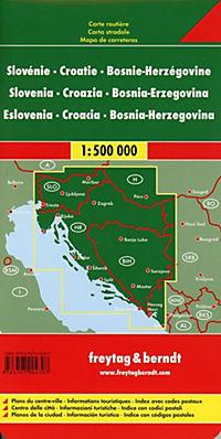 Freytag & Berndt Autokarte Slowenien, Kroatien, Bosnien-Herzegowina; Eslovenia, Croacia, Bosnia-Erzegovina; Slovenie, Cr - Produktdetailbild 1