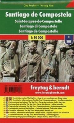 Freytag & Berndt Stadtplan Santiago de Compostela; Saint Jacques-de-Compostelle; Santiago di Compostela; Santiago de Com