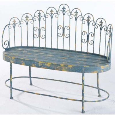 gartenbank blue aus metall mit gelben used look 2 sitzer. Black Bedroom Furniture Sets. Home Design Ideas