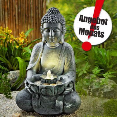 Gartenbrunnen Buddha mit LED-Beleuchtung