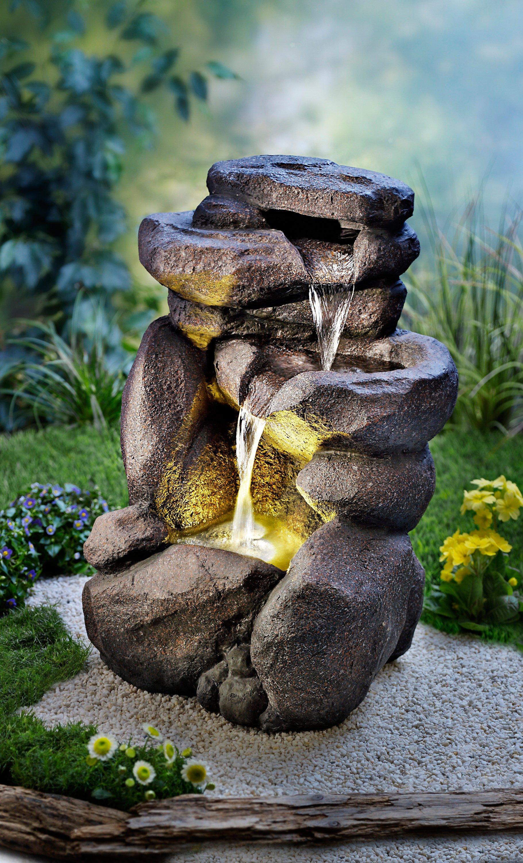 gartenbrunnen wasserfall mit led beleuchtung. Black Bedroom Furniture Sets. Home Design Ideas