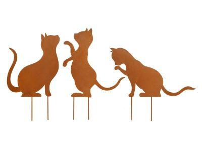 Gartenstecker Katze, 3er-Set