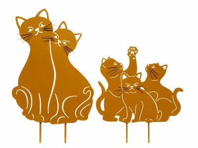 """Gartenstecker """"Katzenfamilie"""", 2er-Set"""