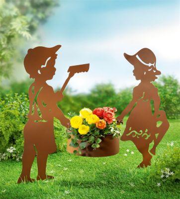 Gartenstecker mit Pflanztopf, 3-teiliges Set