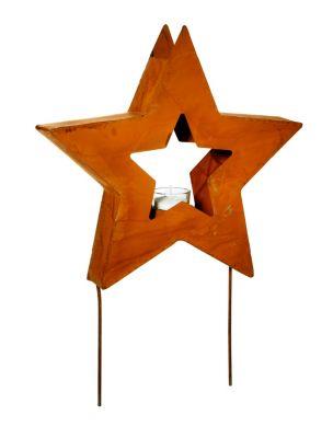 Gartenstecker Stern mit Teelichthalter