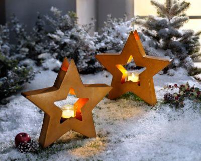 Gartenstecker Stern mit Teelichthalter, 2er-Set
