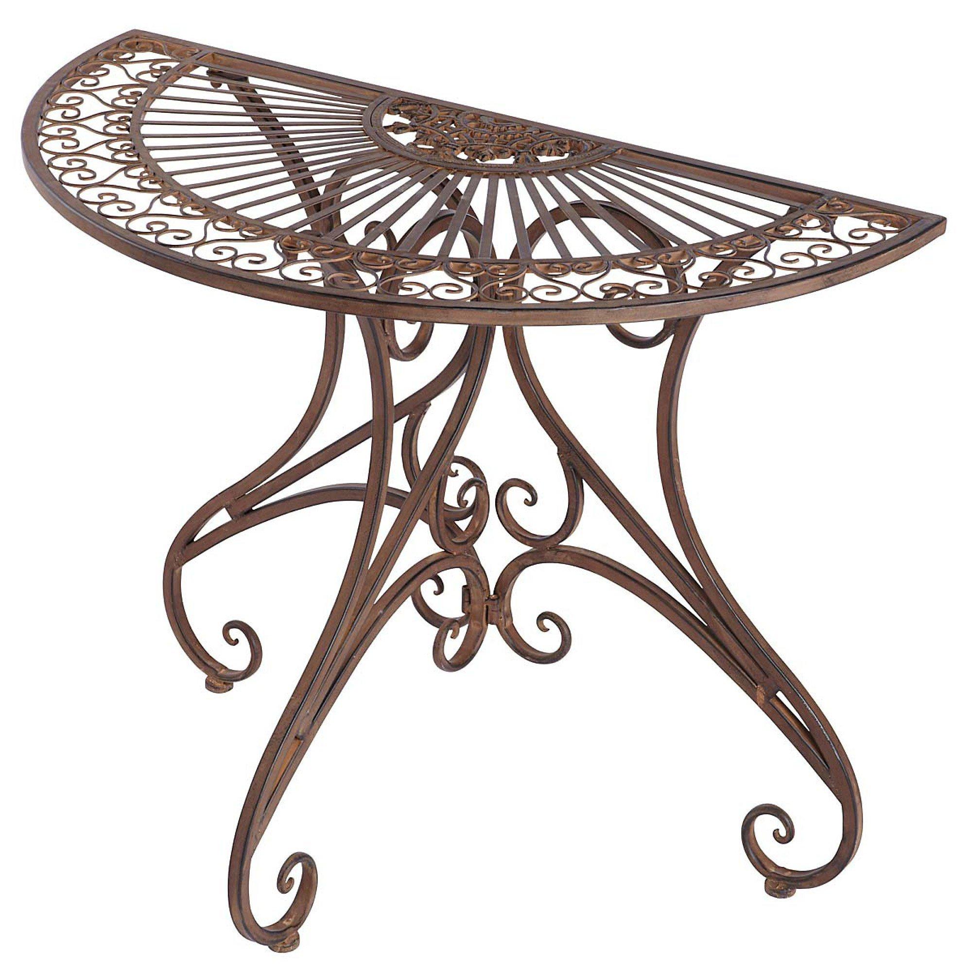Gartentisch Versailles Halb Metall Antik Braun 74cm Hoch Weltbild De