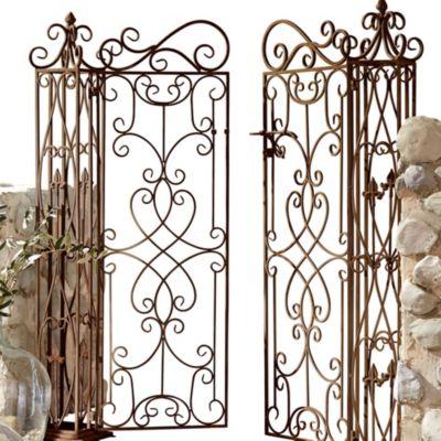 Gartentor Florenz, aus Metall,antik-braun,mit zwei Türen
