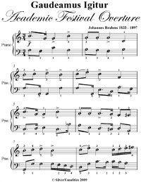 Gaudeamus Igitur Academic Festival Overture Easy Piano Sheet Music, Johannes Brahms