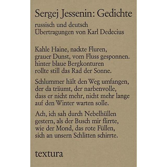 Gedichte Buch Von Sergej Jessenin Versandkostenfrei Bei