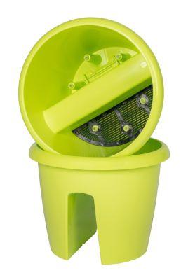 Geländertopf 27cm mit Wasserspeicher-System., passend für alle Geländer bis 5cm Breite, gelbgrün. 3 er Set