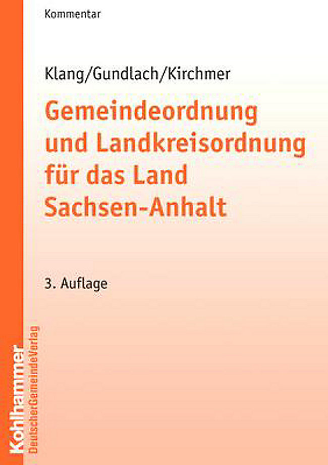 Gemeindeordnung Sachsen Anhalt Kvg Lsa Kommentar Buch Portofrei