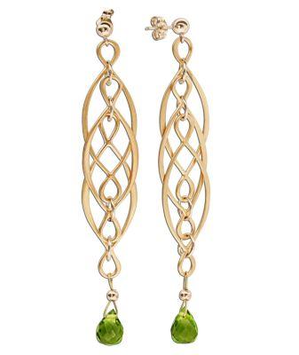 Gemshine OhrringeInfinity, Gold 24k, Turmalin (Farbe: grün)