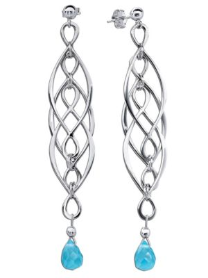Gemshine OhrringeInfinity, Silber 925, Aquamarinquarz (Farbe: blau)