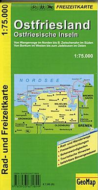 GeoMap Karte Ostfriesland, Ostfriesische Inseln, 1:75.000 Rad- und Freizeitkarte - Produktdetailbild 1