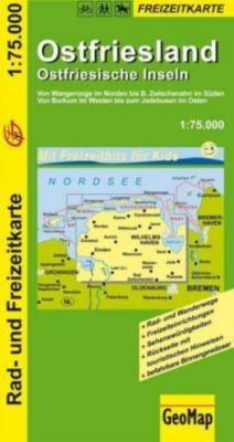 GeoMap Karte Ostfriesland, Ostfriesische Inseln, 1:75.000 Rad- und Freizeitkarte