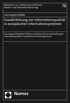 Gewährleistung von Informationsqualität in europäischen Informationssystemen, Lena-Sophie Deissler
