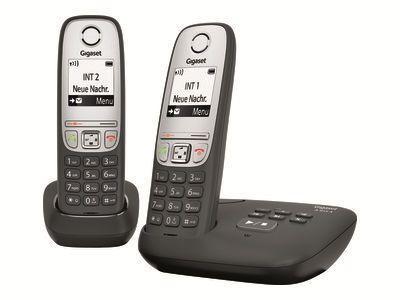 GIGASET A415A Duo schwarz mit Anrufbeantworter Freisprechfunktion 100 Adresseinträge + zusätzlichem Mobilteil