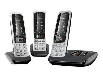 GIGASET C430A Trio schwarz + 2 zus. Mobilteile, 200 Adressbucheinträge TFT-Farb-Display Wecker Kalender