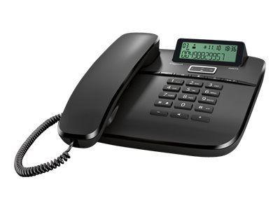 GIGASET DA610 schwarz schnurgebunden analog mit Display Freisprechfunktion CLIP Telefonbuch für bis zu 50 Einträge