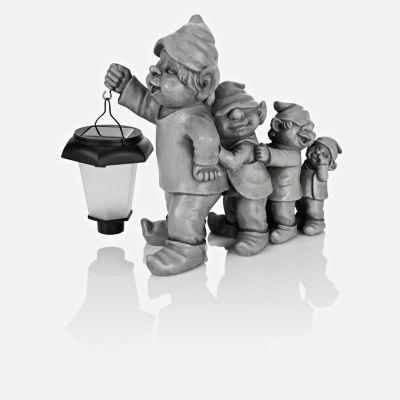 Gnomfamilie mit Solar-Laterne