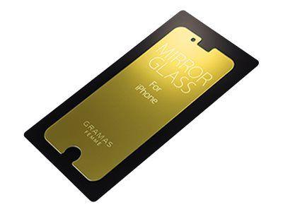 GRAMAS Femme Schutzspiegelglas iPhone 8+ Schutzglas Haertegrad 9H 8/7/6S/6 PLUS Spiegel bei inaktivem Display verwendbar GD gold