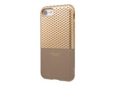 GRAMAS Hex Hybrid Huelle iPhone 8/7 Schutzhuelle Polycarbonat mit Hexagon-Muster Echtleder weiches TPU-Polster CG champagner