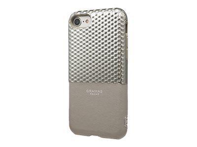 GRAMAS Hex Hybrid Huelle iPhone 8/7 Schutzhuelle Polycarbonat mit Hexagon-Muster Echtleder weiches TPU-Polster SL silber